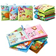 FunsLane Soft Cloth Baby Books Baby First Book Non-Toxic, Fabric, Colorful, Squeak and Rattle, Crinkle Children Educational Toys, Baby Shower Present for Boy and Girl, Pack of 3