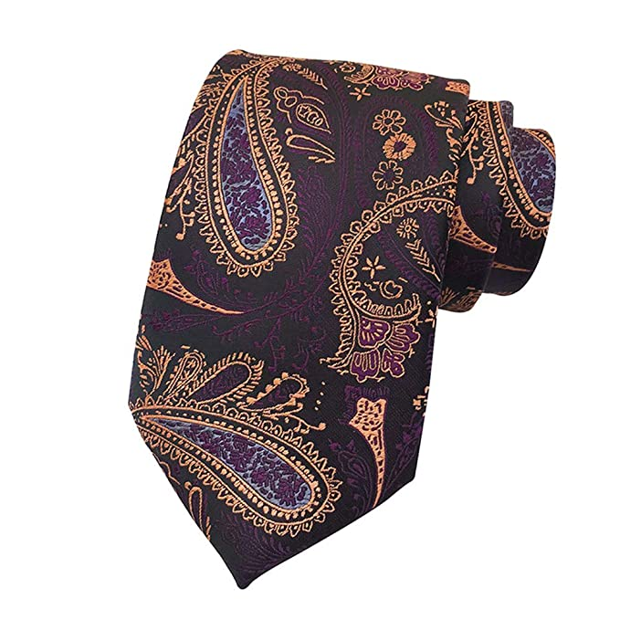 ANYIKE Lazo floral de Paisley de los hombres, corbata clásica ...