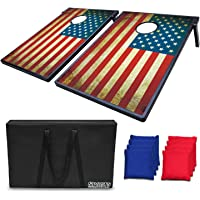LOKATSE HOME Stars and Stipes Cornhole Board Bean Bag Toss Game Set - Two 3'x2' Boards and 8 Bean Bags