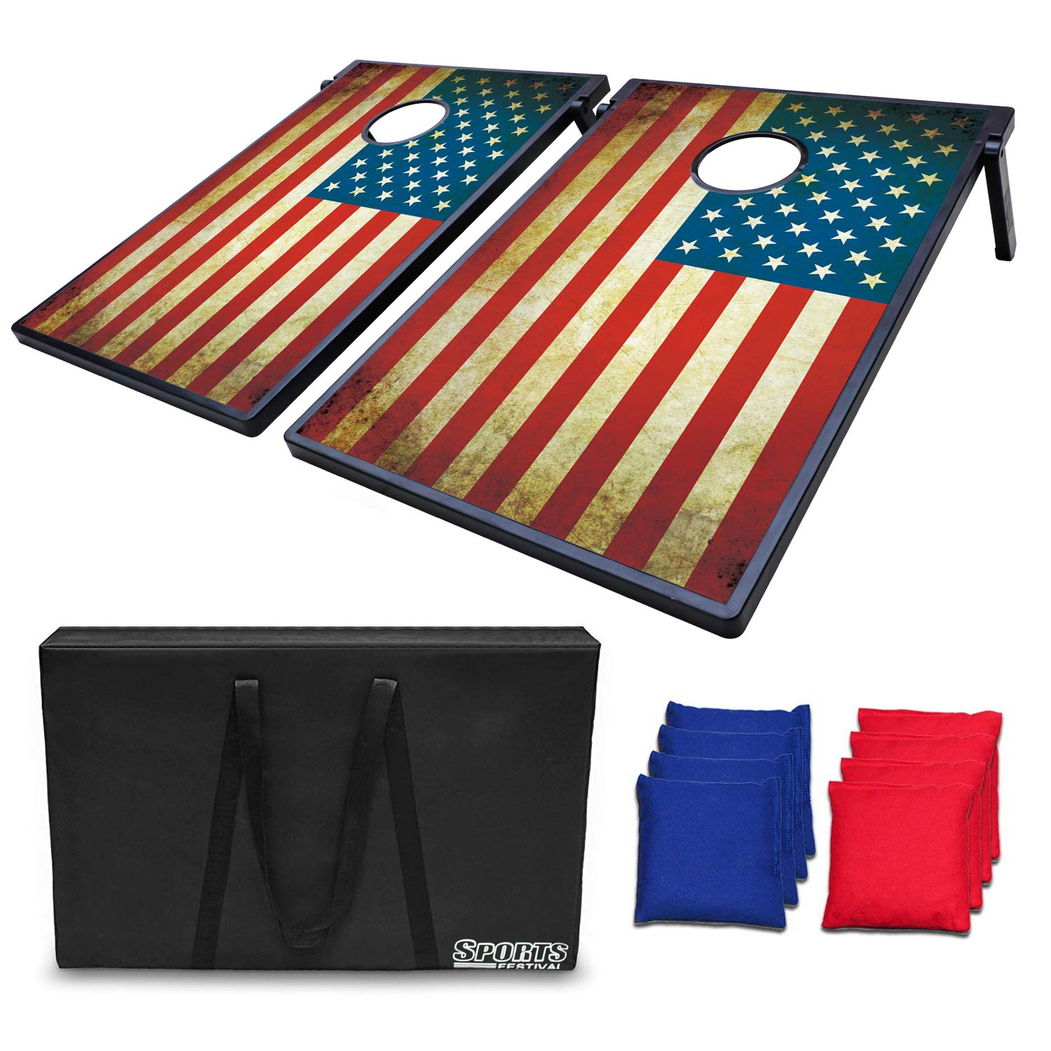 LOKATSE Home Stars and Stipes Cornhole Board Bean Bag Toss Game Set - Two 3'x2' Boards and 8 Bean Bags by Sports Festival