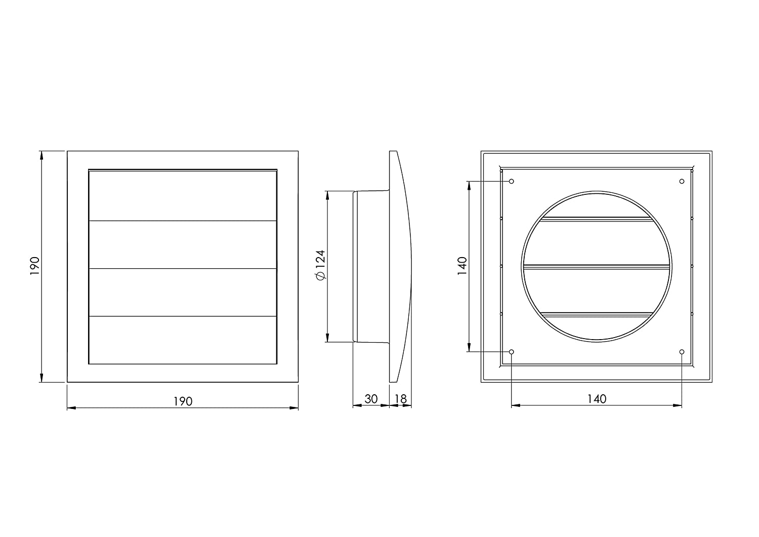 12Zp Ventilation Grille with Movable Slats / Blind End Grille / Backflow Flap Diameter 125 mm / 190 x 190 mm / Grey Europlast