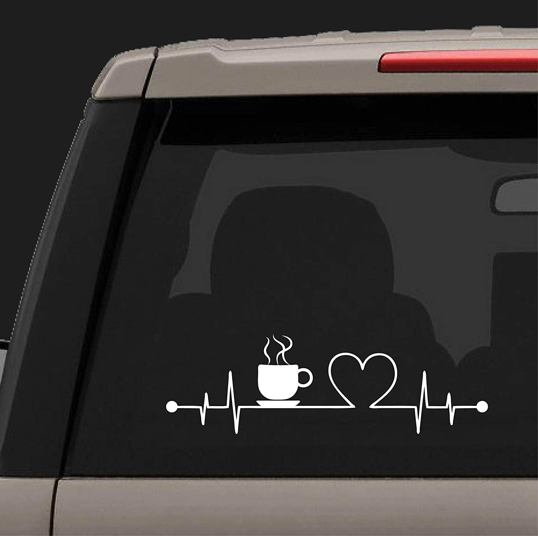 Lplpol Coffee Heartbeat Decal Coffee Love Heartbeat Sticker I Love Coffee Sticker Car Decal Car Sticker Laptop Decal Yeti Decal 6 Amazon Co Uk Kitchen Home