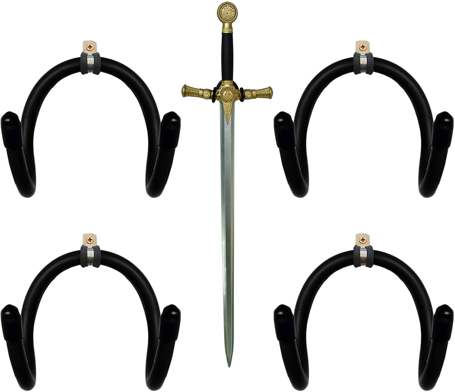 YYST Mini Adjustable Sword, Wall Hook Display Hanger Wall Mount for Sword,Dagger,Axe,Keyblade, etc-4/PK- No Sword-Vertical Display