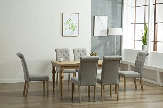 Review Oliver Smith - Roosevelt Collection - 7 Piece Dining - Table and 6 Chairs - Dinette Table Linen Chairs Set Antique Washed Oak 150263lightgrey