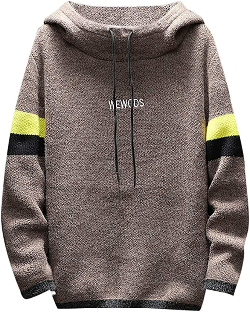 iLOOSKR Plus Size Mens Autumn Winter Warm Pullover Hoodie Long Sleeve Knitted Sweater Casual Tops