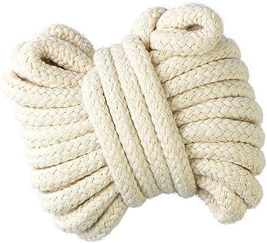 gouert Cordón de algodón 10 mm cuerda trenzada cuerda cordón de ...