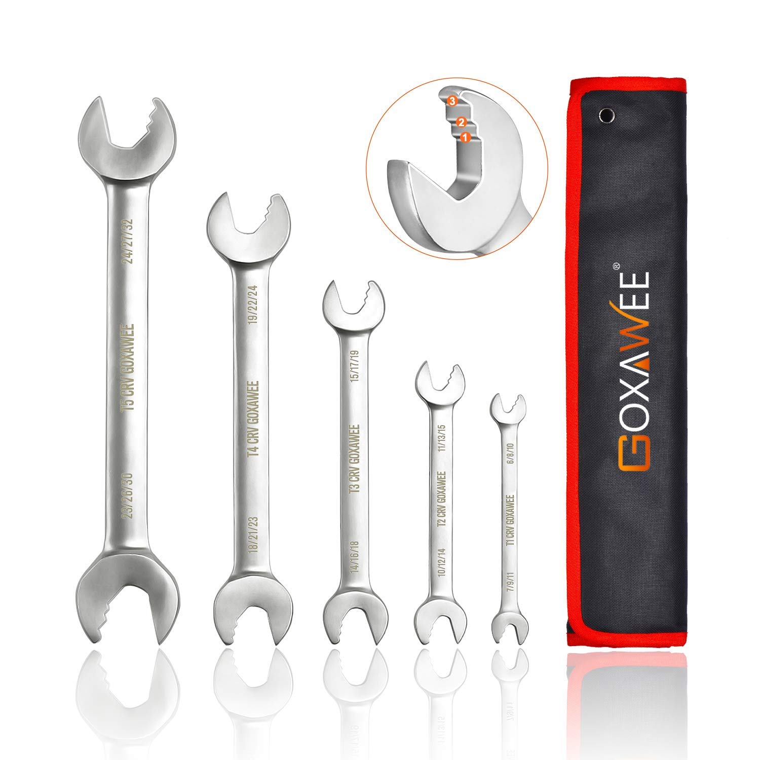 Ratchet Wrench Set, GOXAWEE 6 in 1 Combination Wrenches Multipurpose CRV Double Open-End Wrench Roll Home Hand Tool with Bag - 5Pcs Metric Size (6mm-32mm) by GOXAWEE