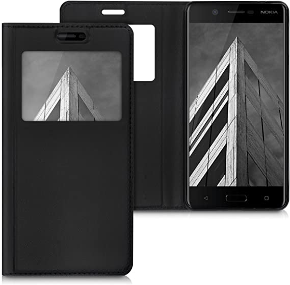 kwmobile Flip Case for Samsung Galaxy S7 Black PU Leather Book Style Wallet Protective Cover with Window