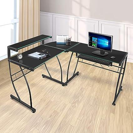 Merveilleux JOO LIFE L Shaped Computer Desk With Tempered Glass Corner Computer Desk  With Shelf U0026