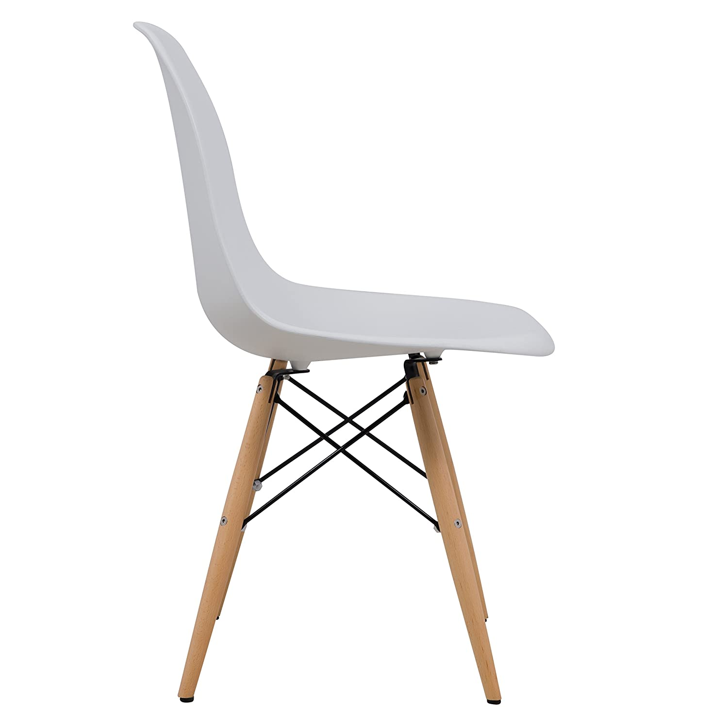 Amazon LeisureMod Calbert Molded Plastic Dining Chair with Wooden Dowel Legs in White Kitchen & Dining