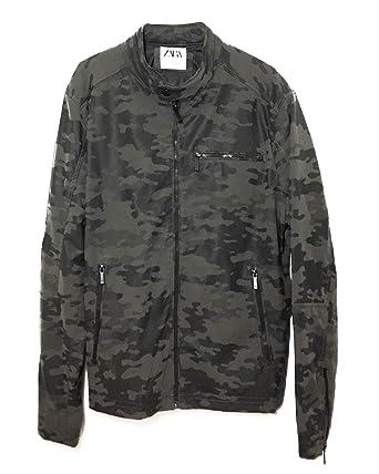 e7b34a06 Zara Men's Camouflage Jacket with Collar Detail 8281/473: Amazon.co ...