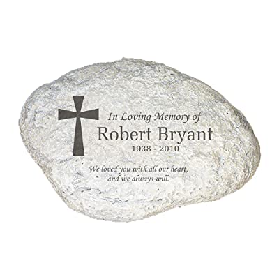 """GiftsForYouNow Personalized Engraved Memorial Garden Stone, 11"""" x 8"""" x 1.5"""" Thick - Laser Etched Stone with Personalized Name and Date, All-Weather Durable Resin Material : Outdoor Decorative Stones : Garden & Outdoor"""