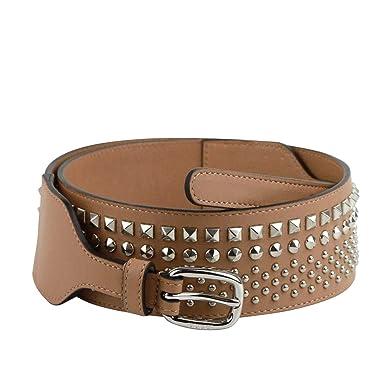 512b0ce3c56 Gucci Women s Studded Skinny Silver Buckle Beige Leather Belt 388985 2754  ...