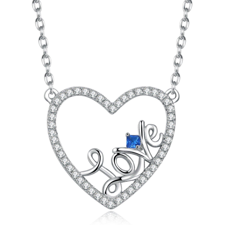 Caperci Sterling Silver Love Open Heart Pendant Necklace Women Girls, 18''