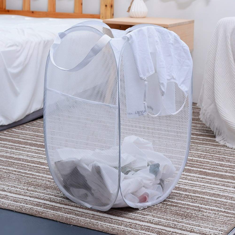 white,36 * 36 * 60CM Laundry Basket Foldable High Quality Coarse Steel Wire Dirty Laundry Basket Receiving Basket organizer