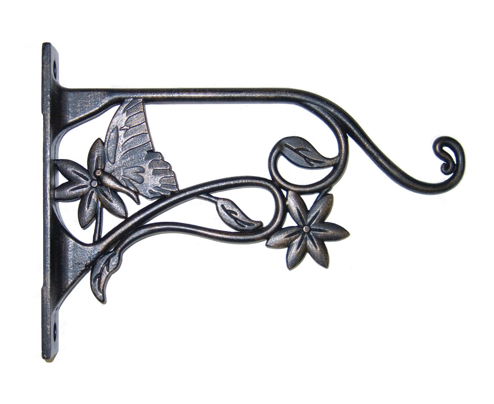 Panacea Plant Bracket with Butterfly Brushed, Bronze, 9'' by Panacea
