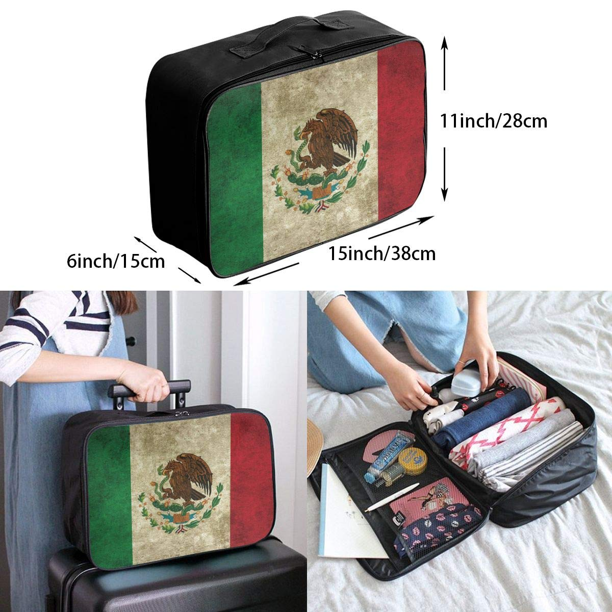 YueLJB Mexico Flag Distressed Lightweight Large Capacity Portable Luggage Bag Travel Duffel Bag Storage Carry Luggage Duffle Tote Bag