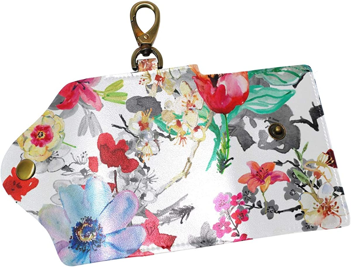 KEAKIA Pulum Flowers Painting Leather Key Case Wallets Tri-fold Key Holder Keychains with 6 Hooks 2 Slot Snap Closure for Men Women