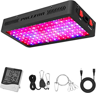 Phlizon 1200W LED Plant Grow Light,with Thermometer Humidity Monitor,with Adjustable Rope,Full Spectrum Double Switch Plant Light for Indoor Plants Veg and Flower- 1200W(10W Leds 120Pcs)