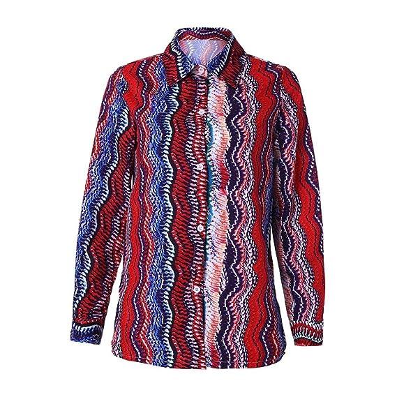 Yvelands Moda para Mujer con Cuello en V Casual Abotonado Button Up Camisa a Rayas Camiseta