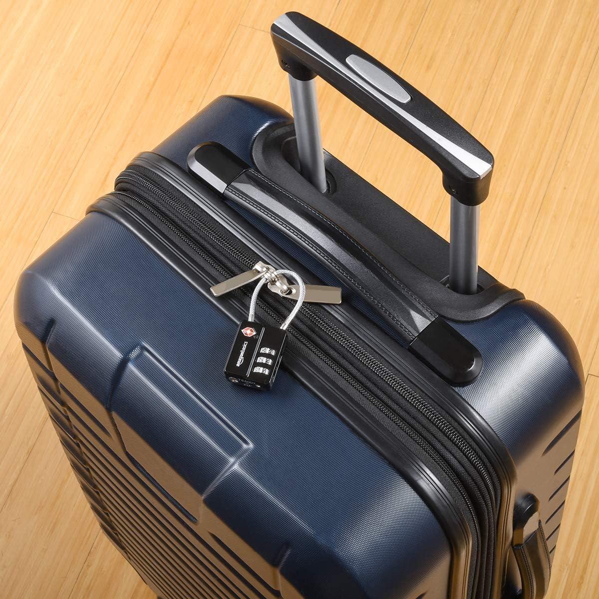 Basics TSA Accepted Cable 3-Digit Combination Lock Black 2-Pack