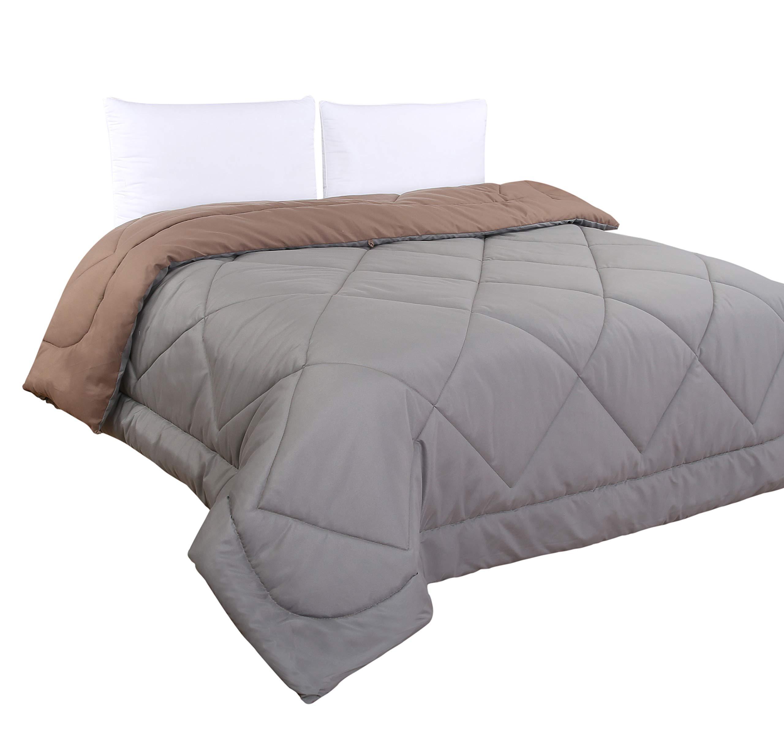 Seashion Home-Slate&Brown Quilt-Comforter/Quilt-UltraSoft-1Pc Quilt&2Pillowcase-MachineWash-Slate/Brown-King