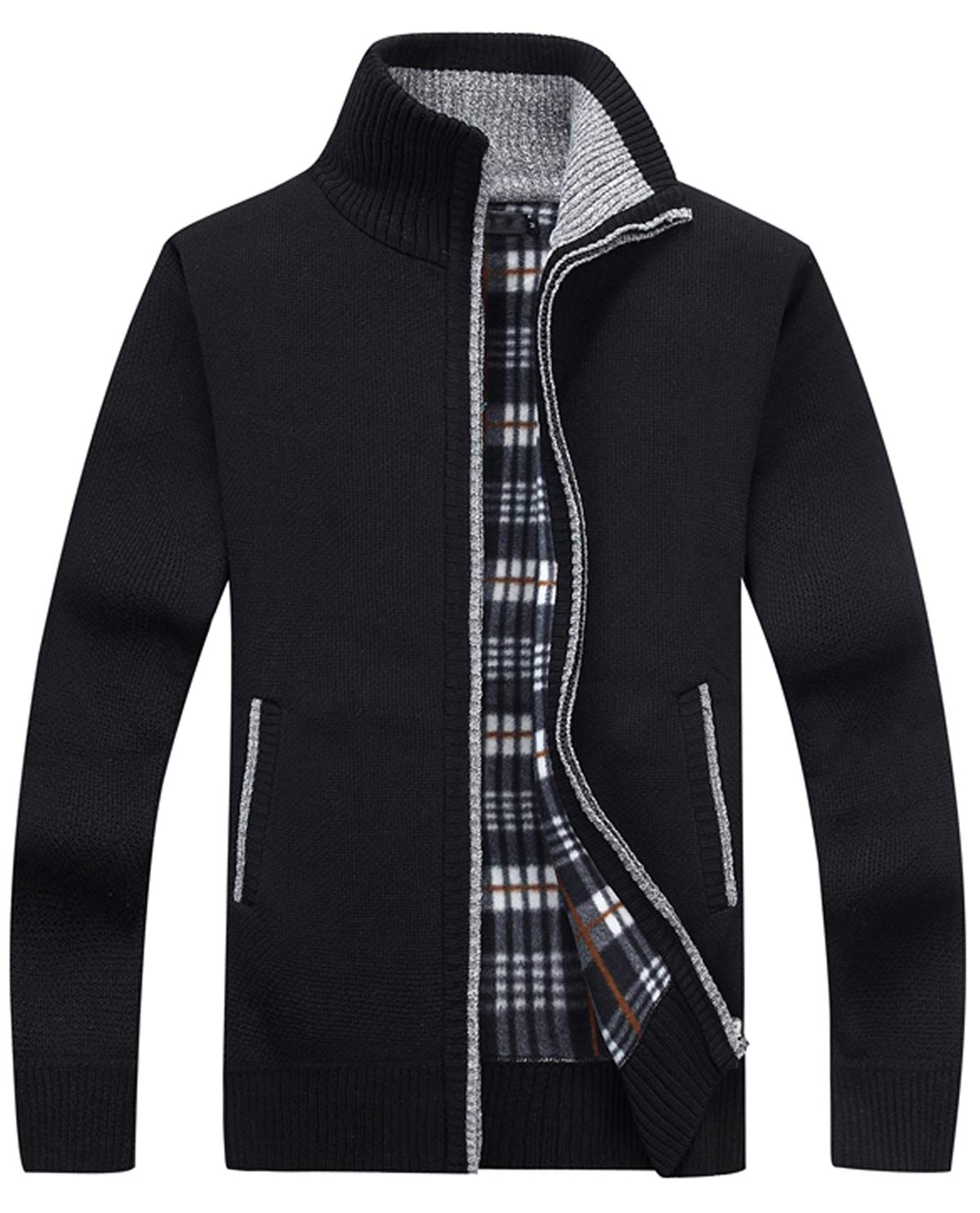 HOW'ON Men's Zip Knitted Cardigan Sweater Black XL