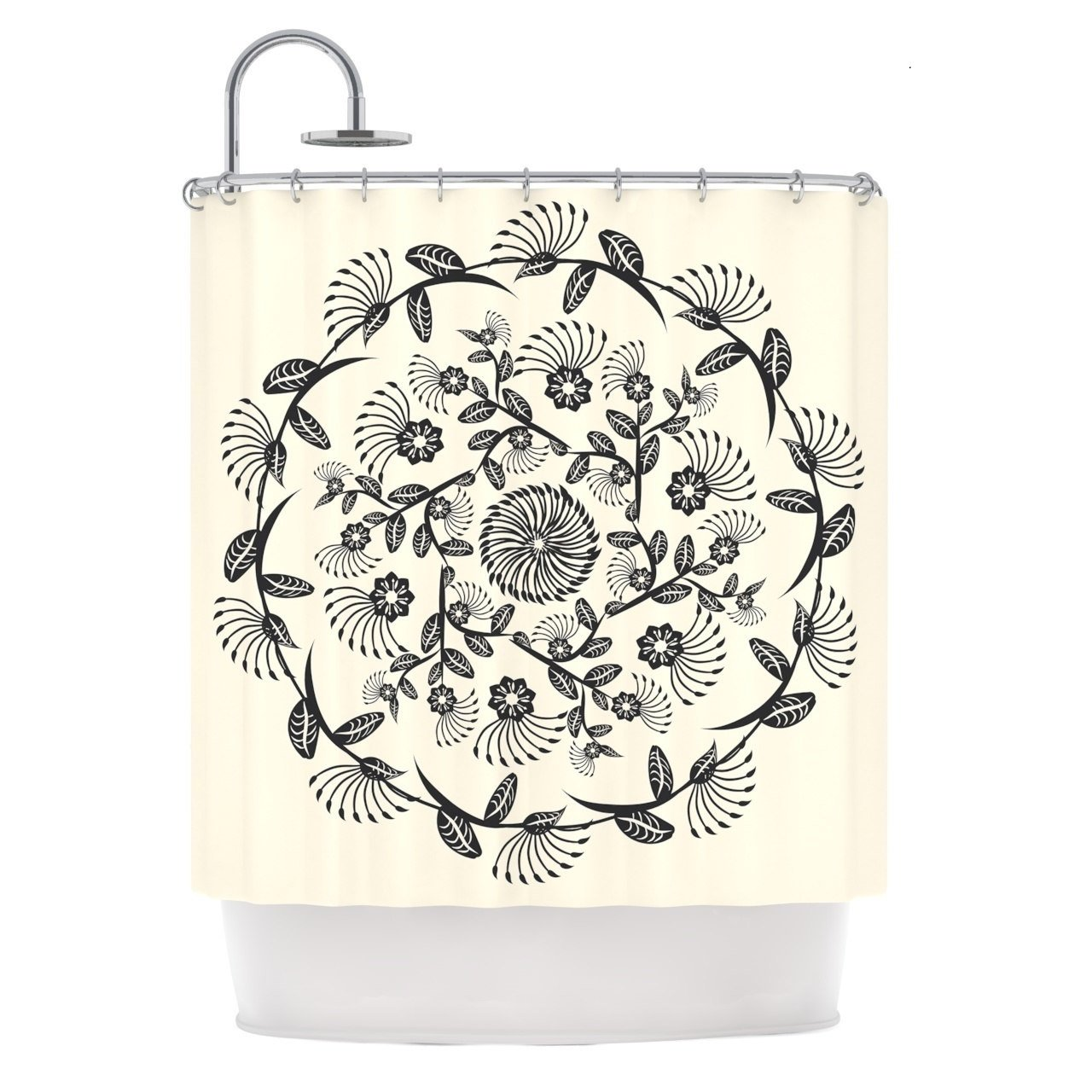 Nature Floral Medallion Style, Elegant Top Shower Curtain, Bright Classic Garden Flowers Motif, Premium Modern Home Adults Kids Bathroom Decoration, Geometric Mandala Theme, Black, Cream, Size 69 x 70