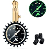 """Tire Pressure Gauge,H-Zonealph Elite Heavy Duty Accurate 60 PSI with 2"""" Easy Read Glow Dial for Cars, Suv, Trucks, Motorcycles, Bikes, 4 Free Valve Caps"""