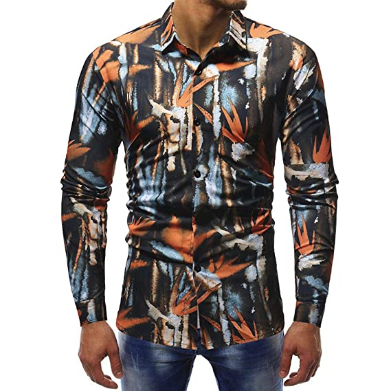 Blusa Impresa de la Manera de los Hombres Ocasionales Camisas de Manga Larga Slim Tops por