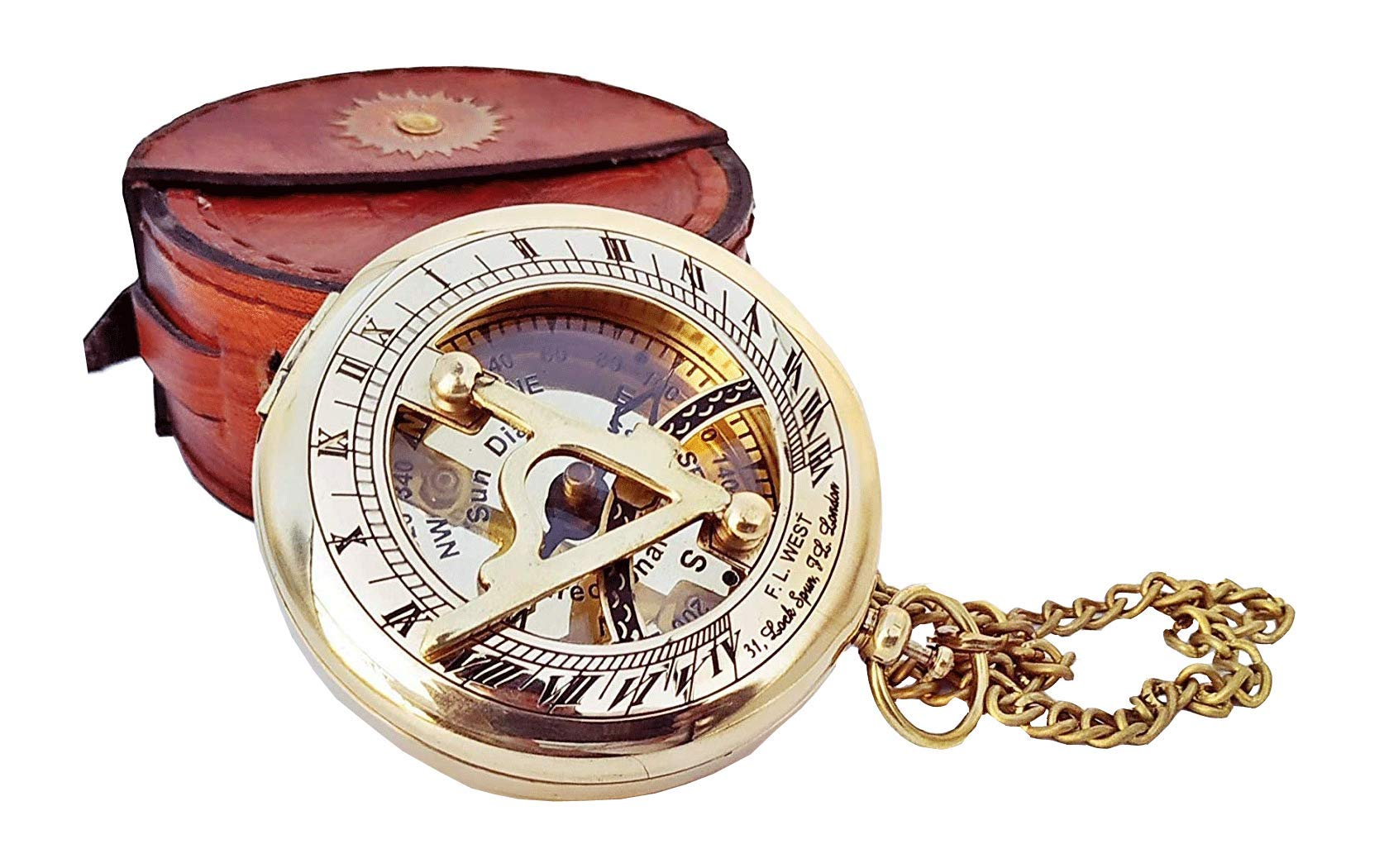 Brass Sundial Compass with Leather Case and Chain - Push Open Compass -Camping/Hiking Steampunk Accessory - Golden Finish - Beautiful -Sundial Clock Anniversary/ Valentine's Gift (Brass and Leather) by A S Handicrafts