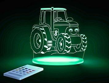 Aloka Traktor Motiv Nachtlicht   Kinderzimmer Baby LED Lampe Farbwechsel  Fernbedienung Schlafmodus, Mehrfarbig
