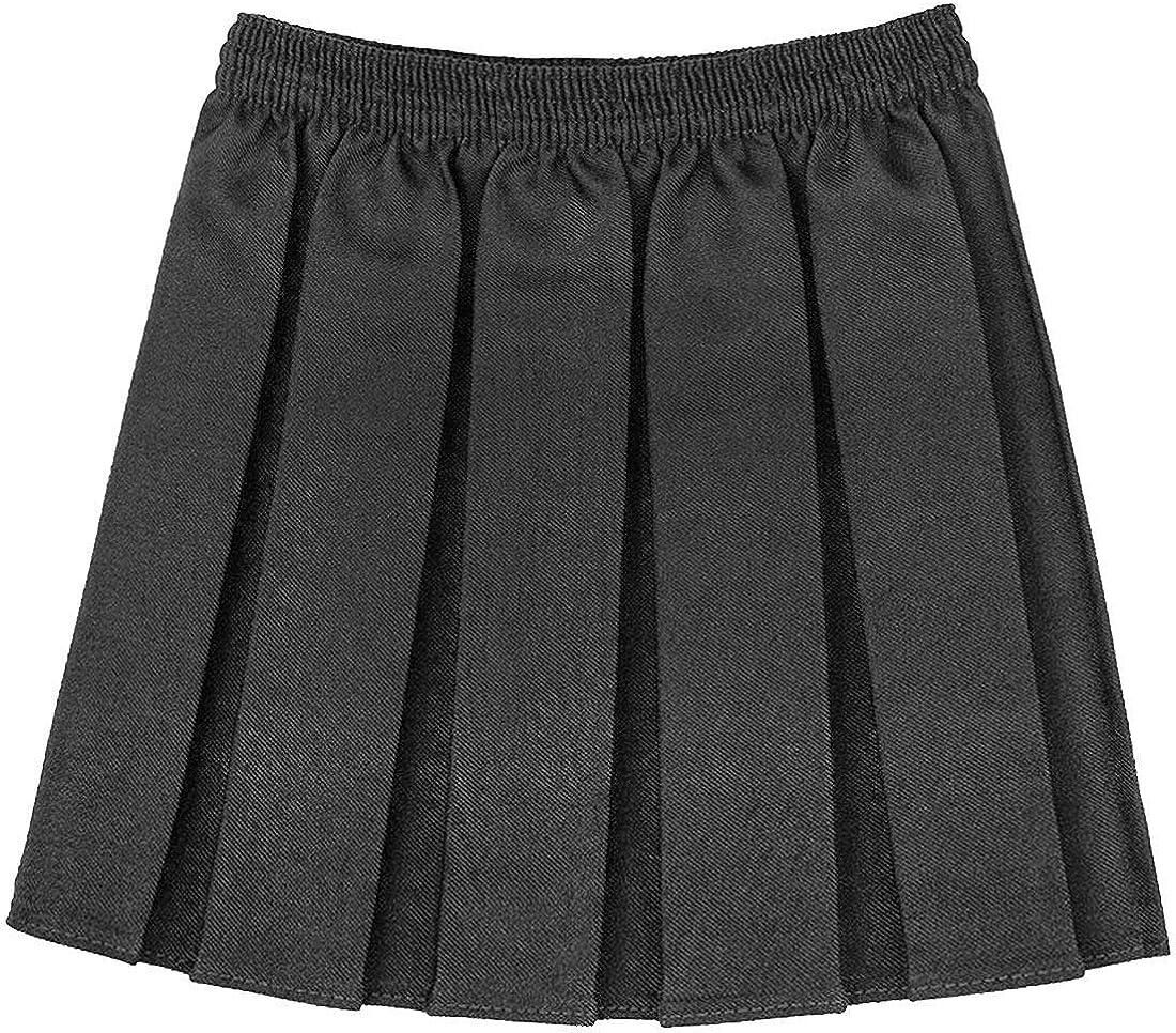 RIDDLED WITH STYLE Girls Kids School Uniform Box Pleated Elasticated Waist Skirt