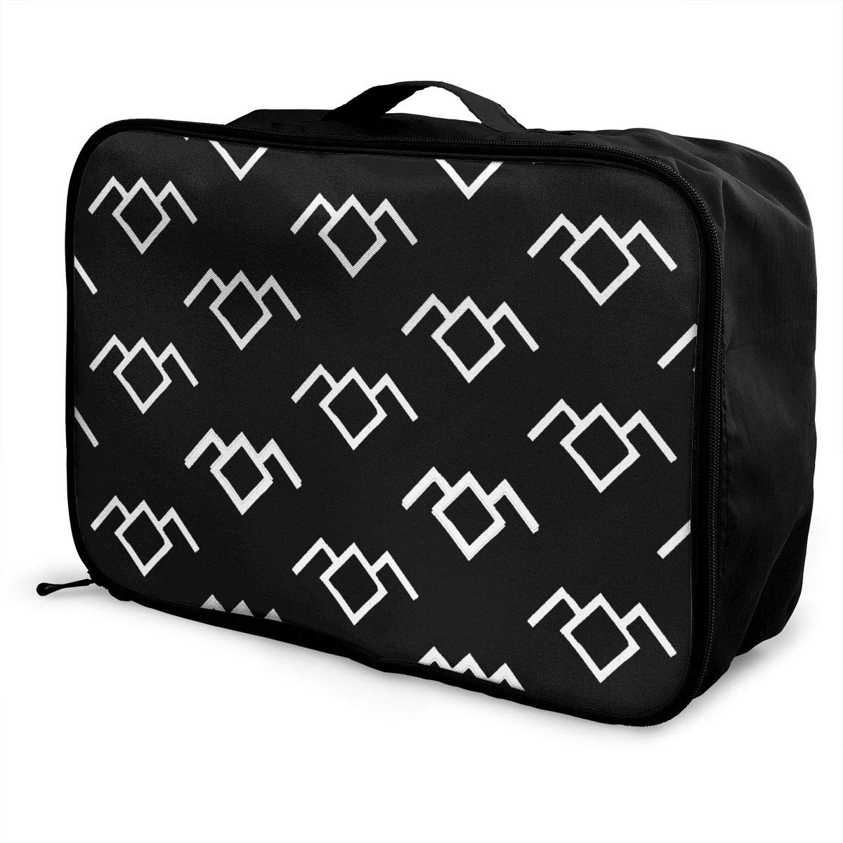 Lightweight Large Capacity Duffel Portable Luggage Bag Cool Black Patterns Travel Waterproof Foldable Storage Carry Tote Bag