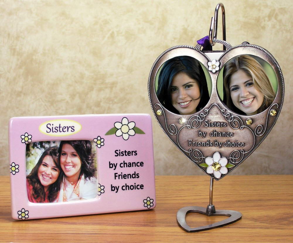 Amazon.com: Sisters Picture Frame & Hanging Double Photo Ornament ...