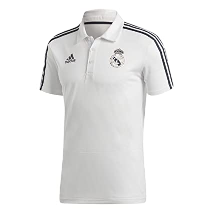 56cf4eec3ce8 Amazon.com   adidas 2018-2019 Real Madrid Polo Football Soccer T-Shirt  Jersey (White)   Sports   Outdoors