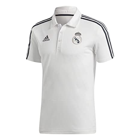 adidas 2018 2019 Real Madrid Polo Football Soccer T Shirt Jersey (White)