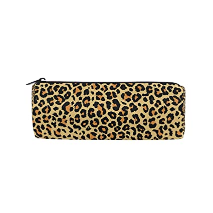 Beau ALAZA Yellow Leopard Zipper Pencil Pen Case Pouch Bag For Girls Kids School  Student Stationery Office