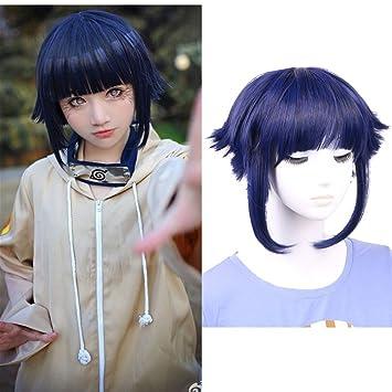 2017 Narutos Shippuden Hinata Hyuga Blue/&Black Mixed Cosplay Wig 80cm