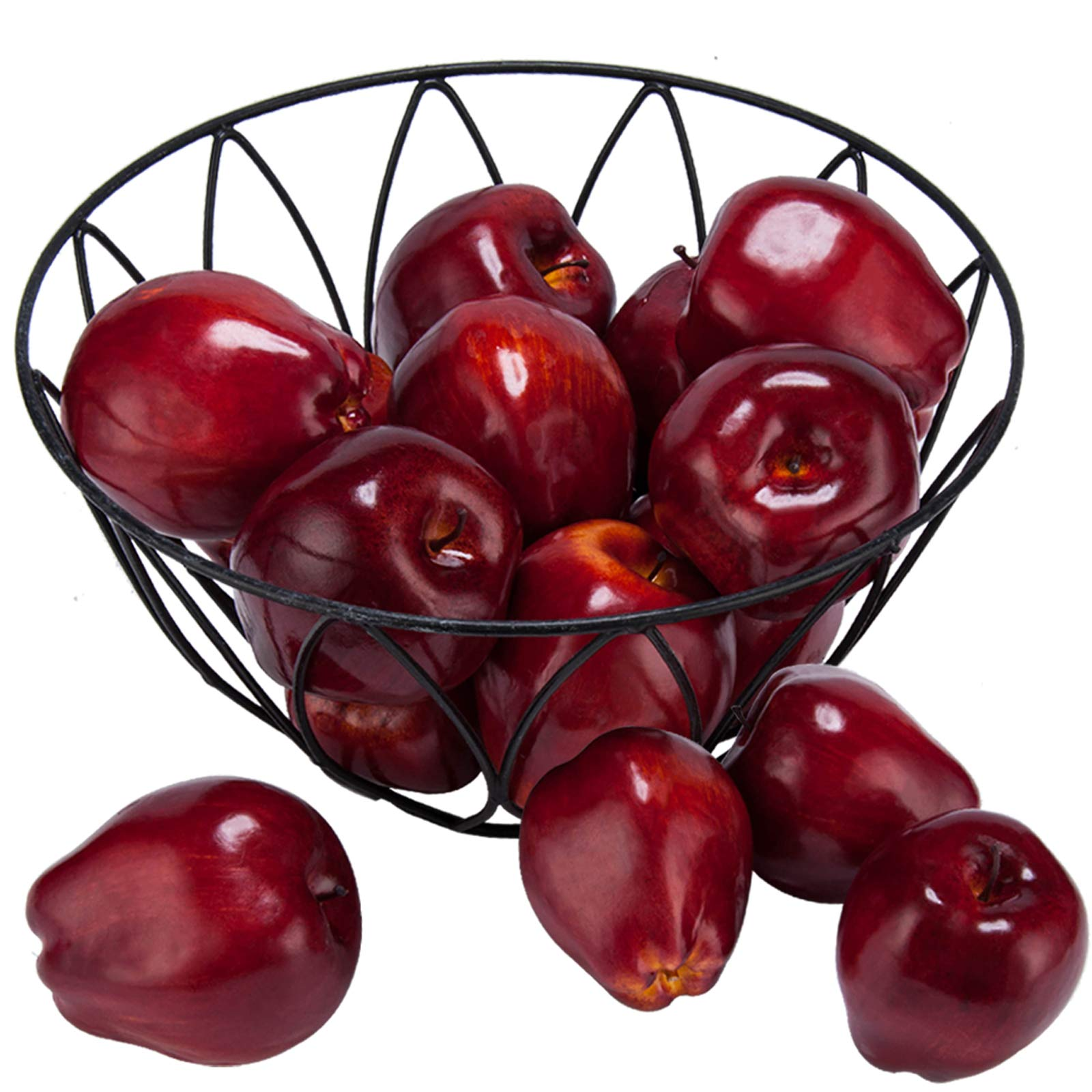 """Toopify 16PCS Artificial Red Apples, Fake Fruit Lifelike Simulation Apples for Home Kitchen Table Basket Decoration, 3.43"""" x 2.95"""""""