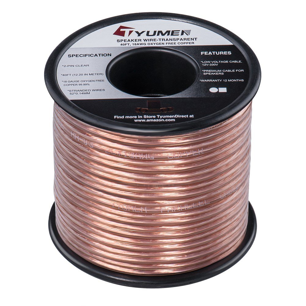 Tyumen 40 Ft Speaker Wire 2 Conductors 18 Gauge Black Battery Cable 100 Wiring Products Stranded 9995 Oxygen Free Copper Wires For Home Theater Speakers Radio Car Audio