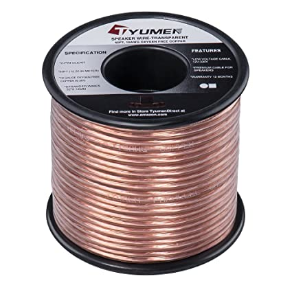 amazon com tyumen 40 ft speaker wire 2 conductors 18 gauge rv home theater wiring tyumen 40 ft speaker wire 2 conductors 18 gauge stranded 99 95% oxygen free copper