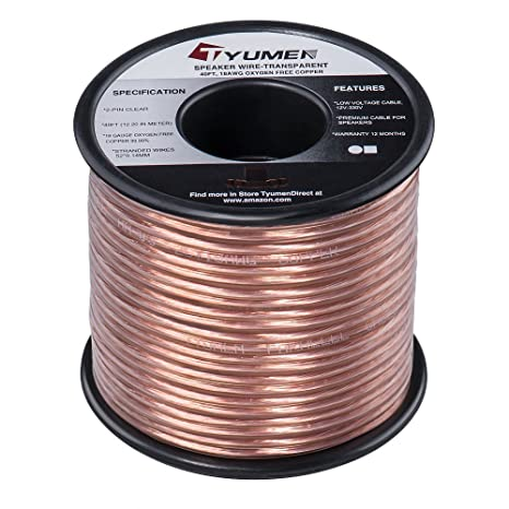 TYUMEN 40 FT Speaker Wire - 2 Conductors 18 Gauge Stranded ... on
