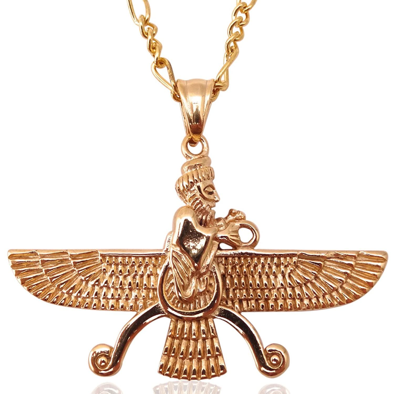 Amazon Large Gold Pt Double Sided Farvahar Necklace Iranian