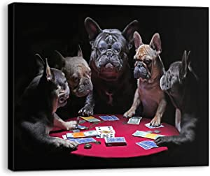 BLIOWL Bathroom Decor Wall Art, French Bulldogs Playing Poker Modern Dogs Wall Art Prints, HD Print of Funny Paintings Wall Art Decor for Home 16'' x 20'' Ready to Hang
