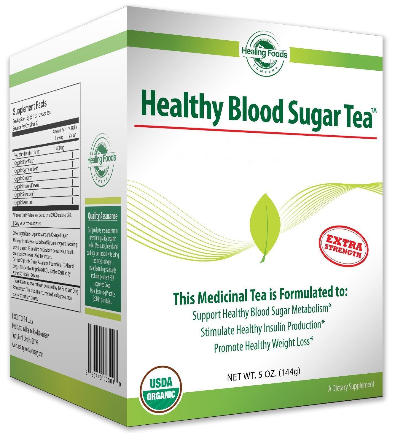 Healing Foods Non-GMO Gluten-Free Organic Blood Sugar Tea with eBook, 30 Day Supply, 5 oz, 90 Servings