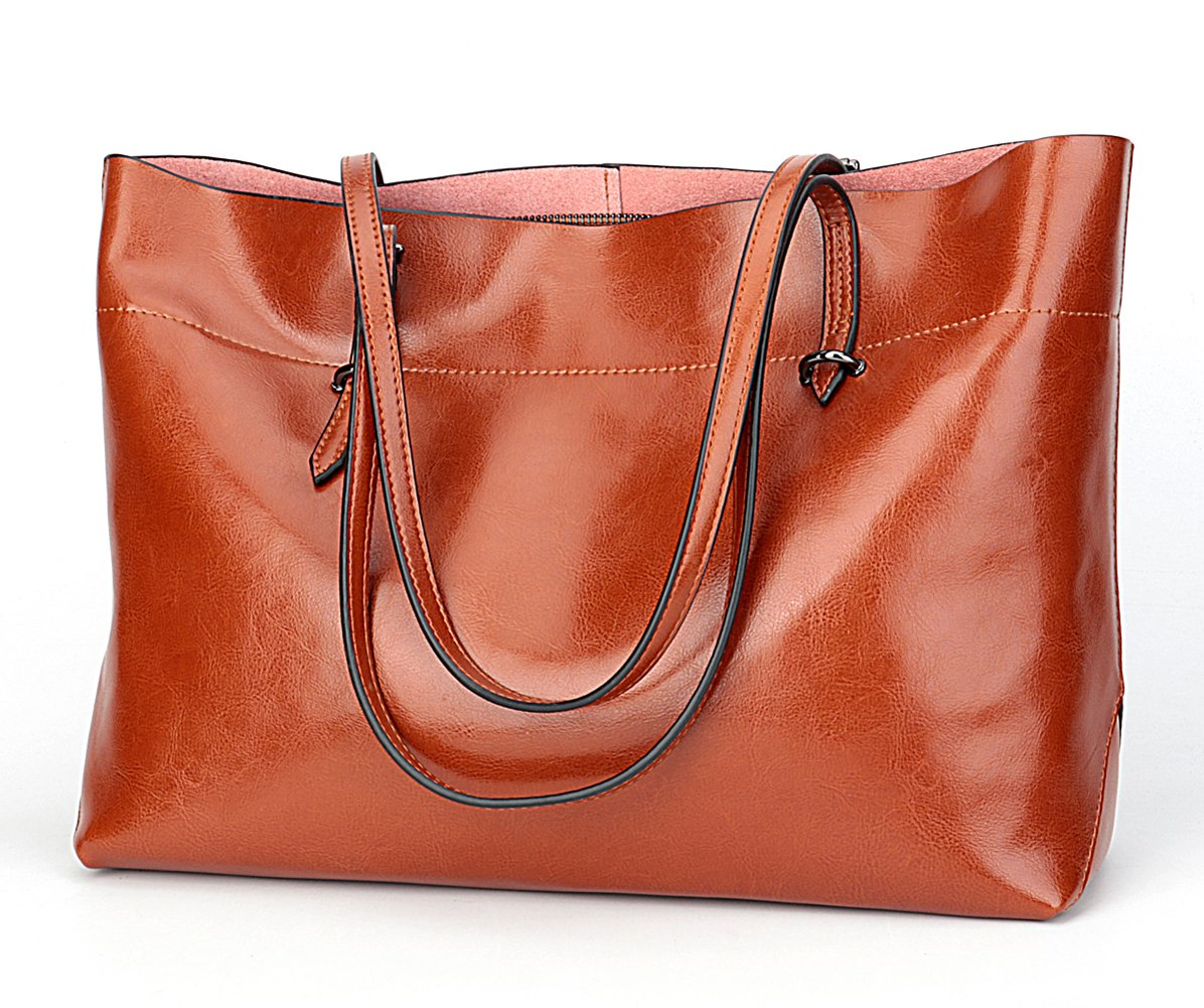 Covelin Women's Handbag Genuine Leather Tote Shoulder Bags Soft Hot Brown by Covelin (Image #3)
