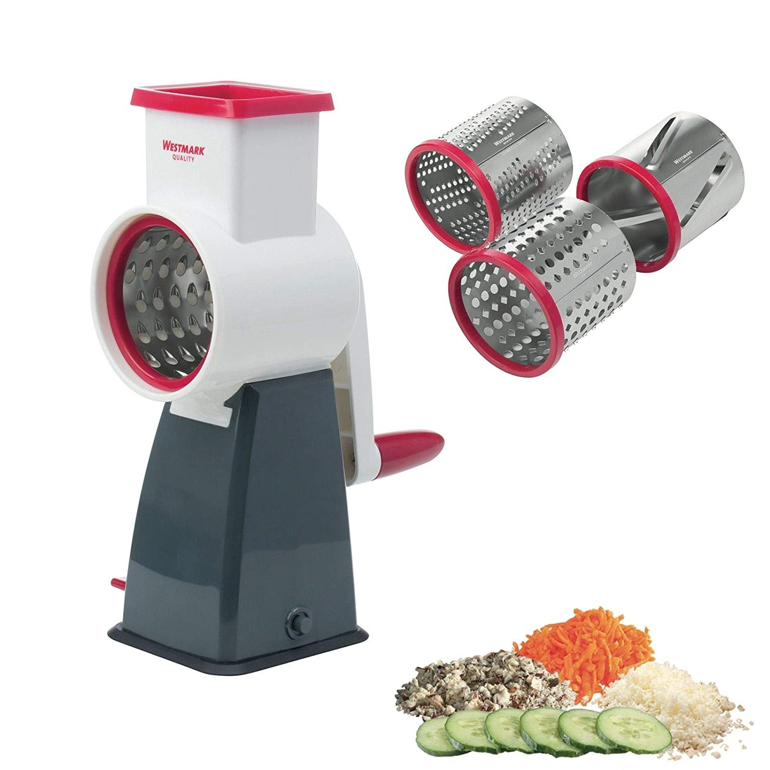 Westmark Cheese Grater Comes With 4 Interchanging Stainless Steel Drums Rotary Food Grater And Slicer For Cheese Nuts And Fruits