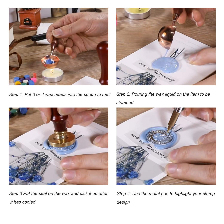 Longruner Sealing Wax Beads Tea Candles Wax Melting Spoon Crafts and Decoration 600pcs Octagon Wax Stamp Seals Kit with Wax Seal Beads Metallic Pen for Wax Sealing Stamp 24 Colors Letter Sealing