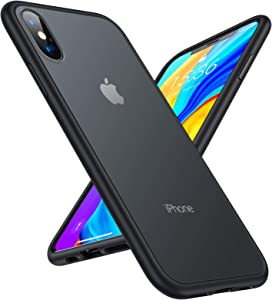 TORRAS Shockproof Compatible for iPhone Xs Case/iPhone X Case, [6FT Military Drop Protection] Translucent Matte Hard PC Back & Soft TPU Edge Case Compatible for iPhone Xs & iPhone X, Matte Black